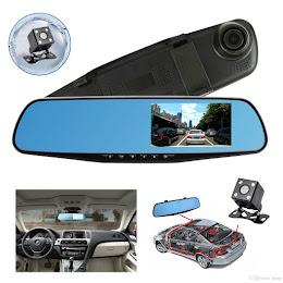 Oglinda auto DVR retrovizoare, camera fata-spate Full HD 1080 + Card 16 GB Cadou