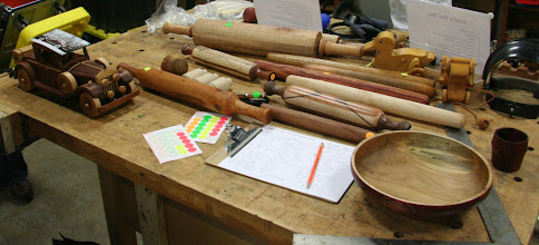 """Photo: The """"rolling pin challenge"""" was obviously a big hit with members, as these items dominated the Show & Tell table."""