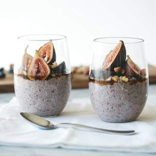 Blueberry Chia Pudding with Figs, Hazlenuts and Maple Syrup.