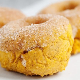 Baked Pumpkin Doughnuts with Cinnamon Sugar.