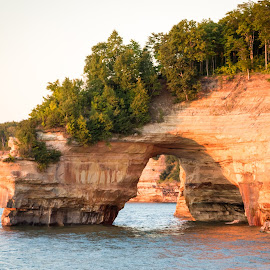 Sunset on the Pictured Rocks by Dave Joye - Landscapes Caves & Formations ( nps, rock formation, michigan, pictured_rocks, rock formations, sunset, up )