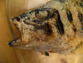 Photo: salt-encrusted bass