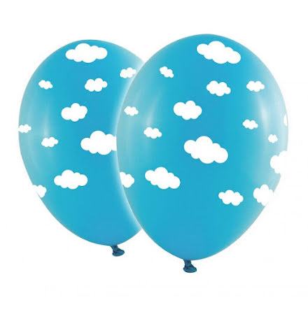 Ballonger - Moln, babyblå