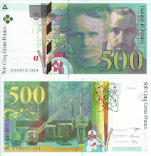 Photo: Marie and Pierre Curie, 500 French Francs (1998). This note is now obsolete.