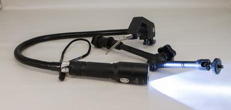 Photo: Carl Powell - inexpensive homemade lathe light based on LED flashlight