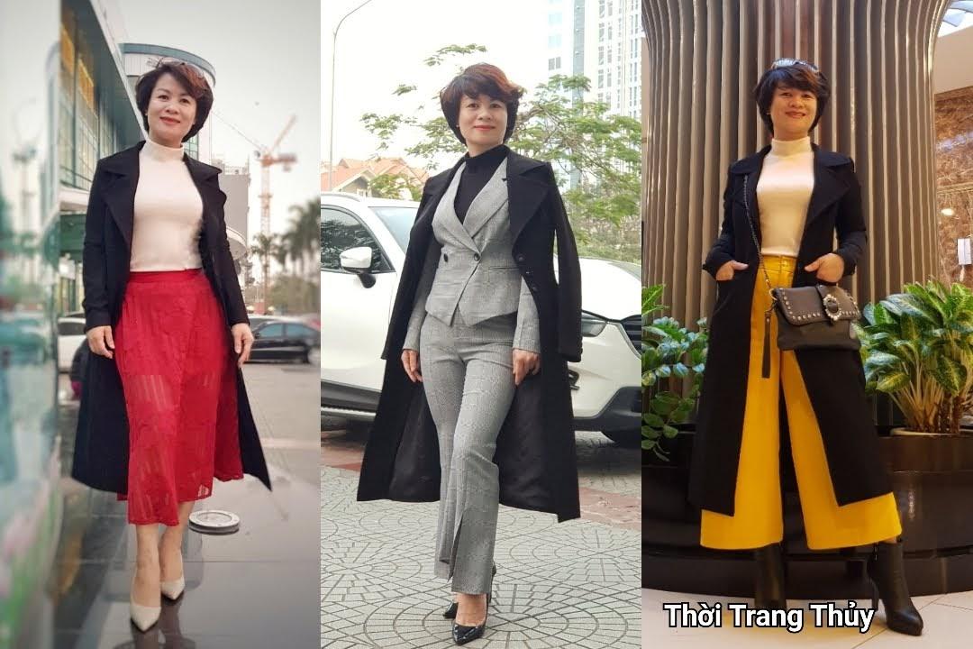 Áo khoác dạ nữ dáng dài màu đen cổ vest rộng V694 thời trang thủy