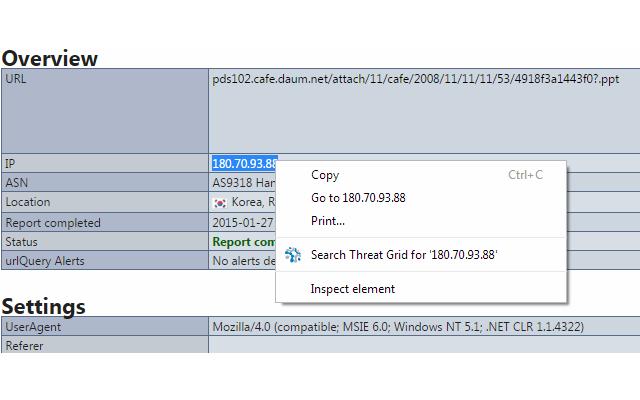 Threat Grid Search