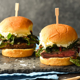 Steak Sliders with Artichoke Spread & Horseradish Greens