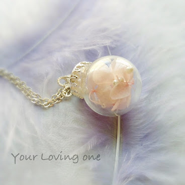 粉紅色繡花玻璃球頸鏈