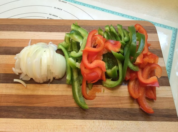 Slice up your onions & peppers.