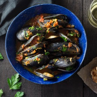 Mussels in Saffron-Tomato Broth.
