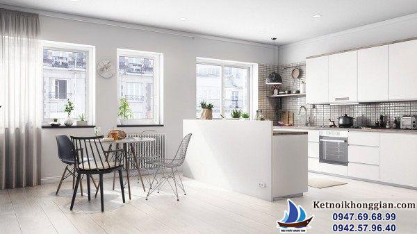 thiết kế phòng bếp sáng và cởi mở