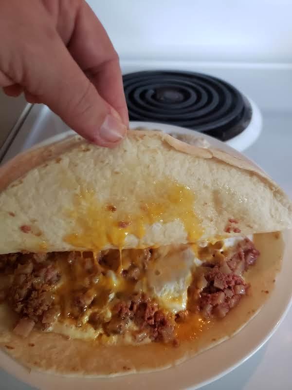 Corned Beef  Hash Egg Cheddar Cheese Quesadillas