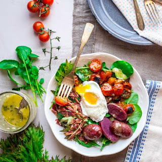 French Bistro Brunch Salad with a Poached Egg and Broiled Cherry Tomatoes Recipe