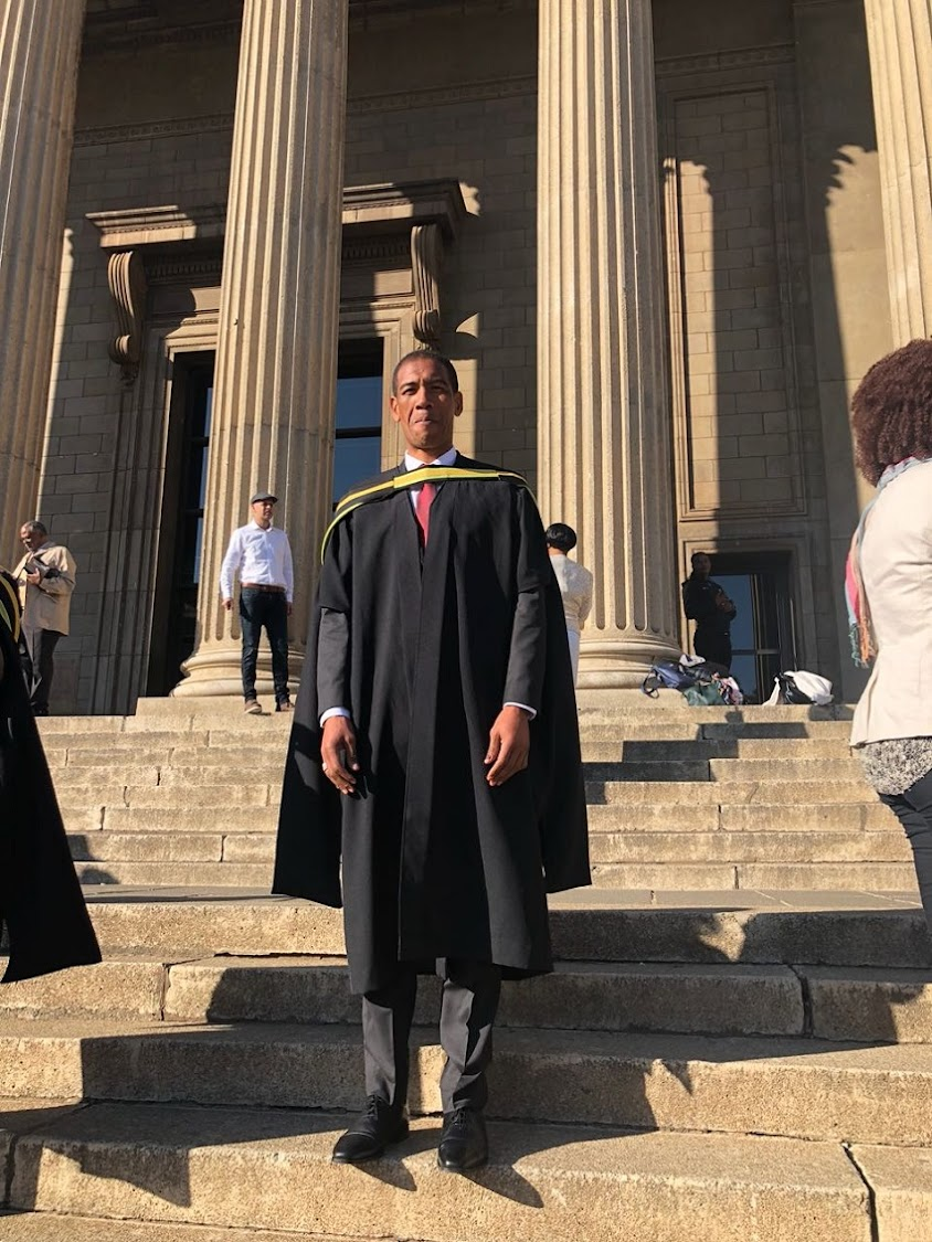 Ashwin Willemse graduating on Thursday with a Masters of Management in Entrepreneurship and New Venture Creation.