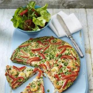 Garnelen-Paprika-Frittata mit Erbsen und Paprika