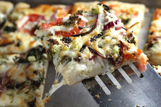 Roasted Vegetable Alfredo Pizza