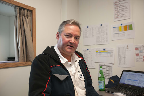 Chief engineer Peter Nilsson in his office in the crew quarters of Viking Star.