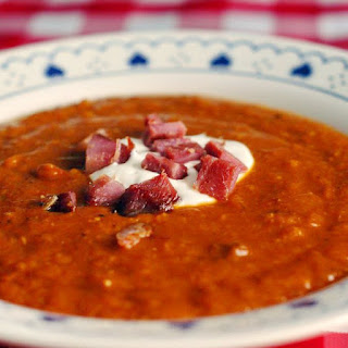 Roasted Squash and Smoked Ham Soup.