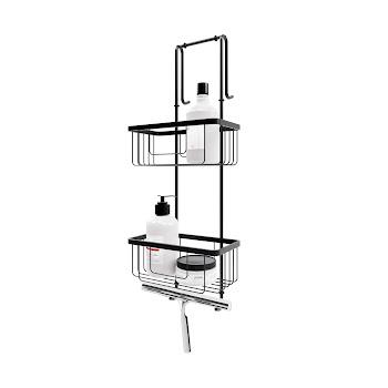 Duschablage zum Hängen, 2 Etagen, schwarz, 67 cm lang, Aufbewahrung von Dusch-Utensilien, Halter für Wischer