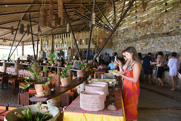 Enjoy a Thai buffet lunch in the restaurant of Phi Phi Cliff Beach Resort