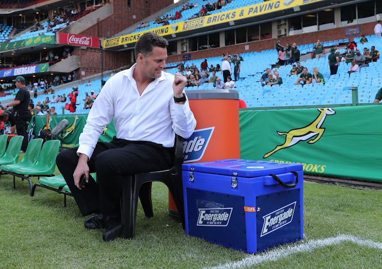 The Springboks coach and SA Rugby head of rugby Rassie Erasmus smiles during the Rugby Championship match between South Africa and New Zealand at Loftus Stadium in Pretoria on October 6, 2018.