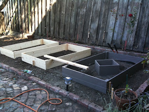 Photo: Building the boxes. Dimensions: 44 in x 72 in x 10 in