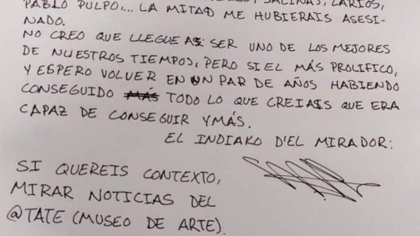 Carta publicada en Instagram por el presunto atacante. / La Opinión de Murcia