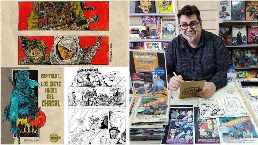 Raúl Moreno García y algunas de las viñetas e ilustraciones que ha realizado en el cómic.