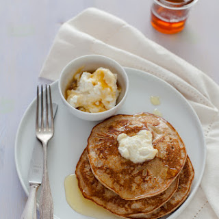 "Whole-Wheat Raw Orange Blossom Honey and Ricotta Pancakes adapted from Donna Hay's recipe whole-wheat honey and ricotta pancakes from ""Fresh and Light"""