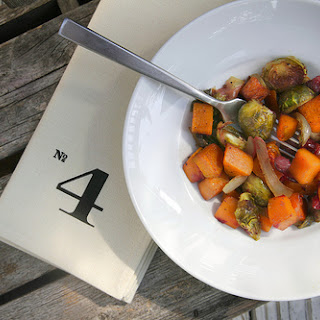 Roasted Brussels Sprouts & Butternut Squash.