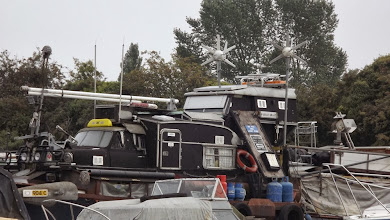 Photo: Houseboat - with Landrover, Mini and Caravan to make deckhouse