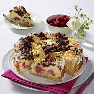 Raspberry Cheesecake with Coconut-Chocolate Crust.