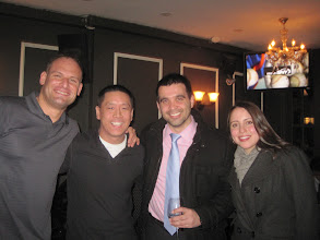 Photo: NYC alumni at Tammany Hall Tavern: Tom Brennan '05, Andy Chen '05, Pablo Gonzalez '11, Cristina Ricaurte '10