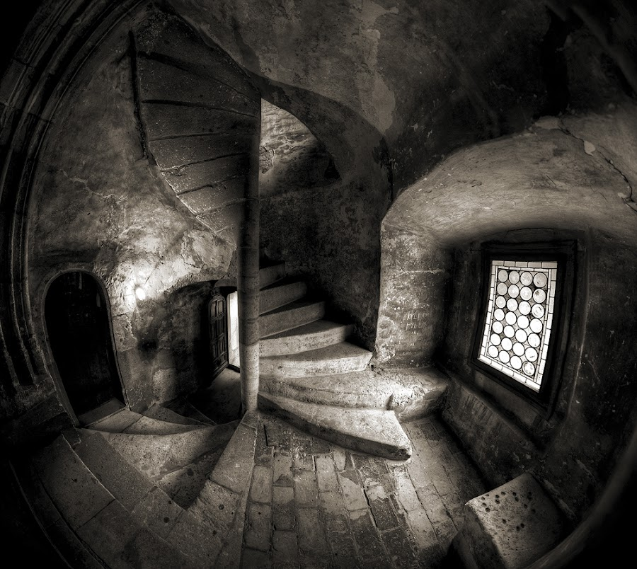 Twisted by Andrei Mogan - Buildings & Architecture Other Interior ( stair, window, white, door, castle, architecture, black )
