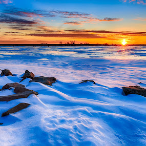 Winter Sunset by Kendra Perry Koski - Landscapes Waterscapes ( 2017, tripp county, winter, cold, blue, ice, ice fishing, snow, gregory, winner, carlock, roosevelt dam,  )