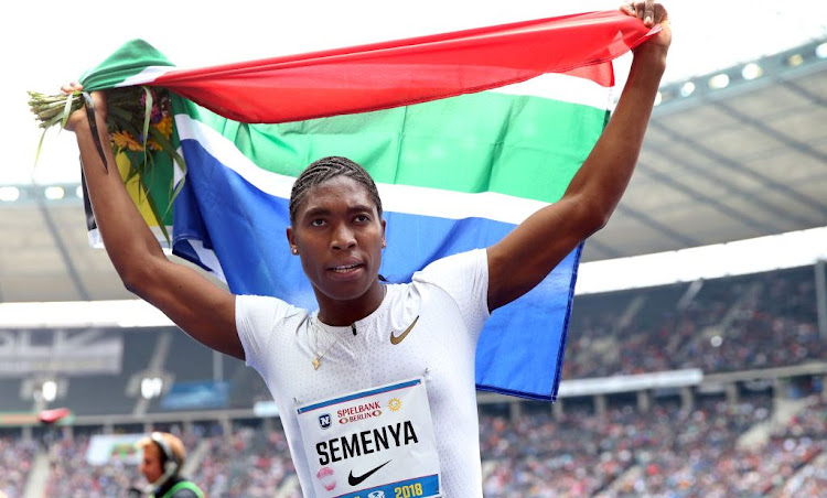 Caster Semanya celebrates after winning the women's 1,000m race during the ISTAF 2018 athletics meeting at Olympiastadion on September 2 2018 in Berlin, Germany. Picture: GETTY IMAGES/RONNY HARTMANN/BONGARTS
