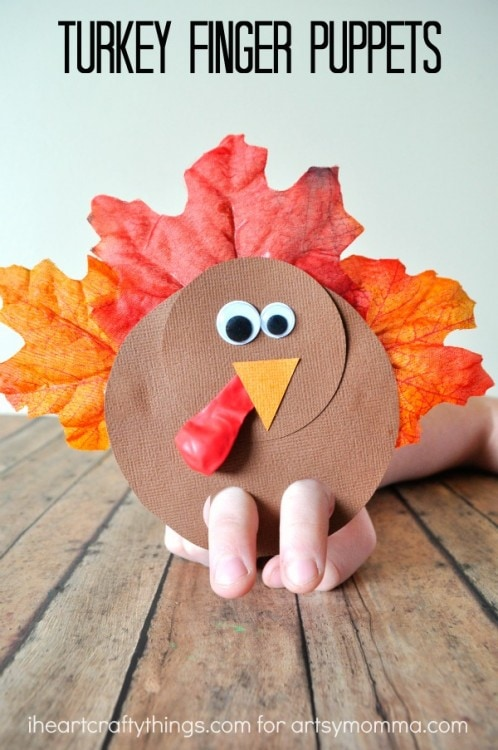 Turkey Finger Puppets: These 25 Thanksgiving Crafts for Kids will get everyone into the thanksgiving spirit.