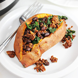 Chorizo and Kale Stuffed Sweet Potatoes.