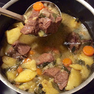 Vrasto Soup. Boiled Beef with Vegetables and Egg-Lemon Soup