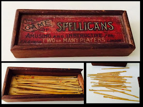 Photo: The Game of Spellicans (seen on eBay - not owned)  The box label shows it to be by : FH Ayres .... London. No mention of 'Ltd' so it could well be a fairly early set.  We had a plastic set of this game when I was a young 'boy' in the 1950's and greatly enjoyed playing it.  Much simpler days, perhaps: yet a simple game that can induce frustration and annoyance (with oneself) has a lot of attractions and appeal.