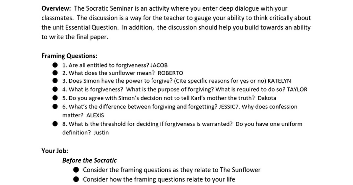 Socratic Discussion - The Sunflower - Google Docs