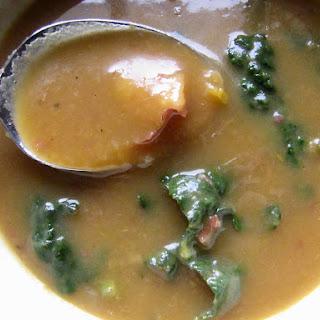 Roasted Potato Leek Soup with Kale