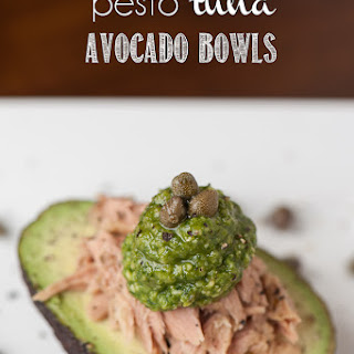 Pesto Tuna Avocado Bowls.