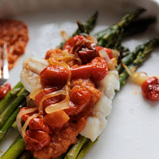 30 Minute Roasted Asparagus and Cod with Rustic Tomato Sauce.