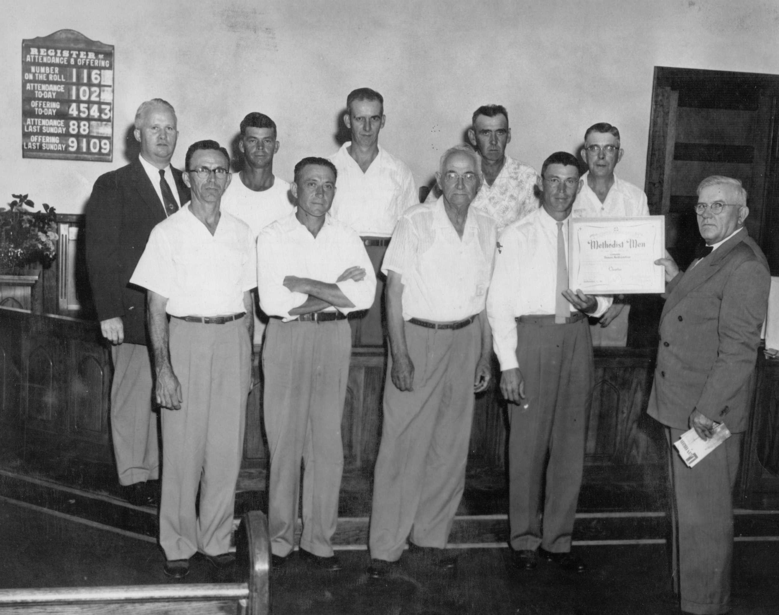 Photo: Canaan UMM - 1952-53 - Rev. Oakley, JB Nance, Wayne Kindley, Lee Surratt, Walter Martin, Ben Martin, Lee Loflin, ? , Lester Nance, Sen. Brock - http://CanaanUMC.net