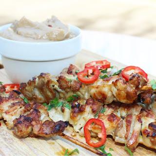 Crispy Chicken Satay with Peanut Sauce.