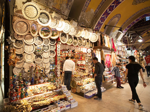 ornamental-platters.jpg - Platters and other decorative ornaments at a shop in the Grand Bazaar.