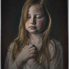 freckles by Corine de Ruiter - Babies & Children Child Portraits ( dreaming, girl, dark, moody, freckles )