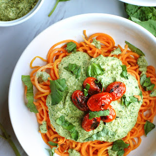 Sweet Potato Noodles with Creamy Pesto Sauce and Blistered Tomatoes